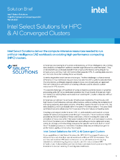 Intel Select Solutions for HPC & AI Converged Clusters