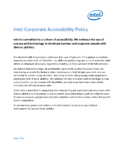 Intel Corporate Accessibility Policy