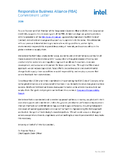 Responsible Business Alliance (RBA) Commitment Letter