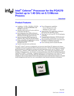 Celeron® Processor for PGA370 Socket up to 1.40 GHz on 0.13 Micron Process