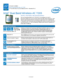 Product Brief: Intel® Dual Band Wireless-AC 7265