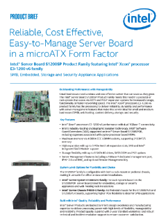 Product Brief: Intel® Server Board S1200SP Product Family Featuring Intel® Xeon® Processor E3-1200 v6 Family