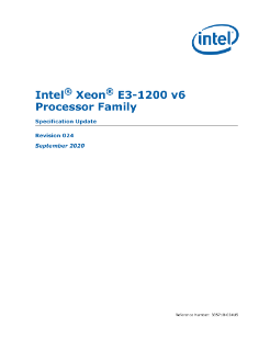 Intel® Xeon® E3-1200 v6 Processor Family Specification Update
