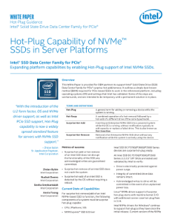Hot-Plug Platform Capabilities for NVMe* and PCIe*-based SSDs